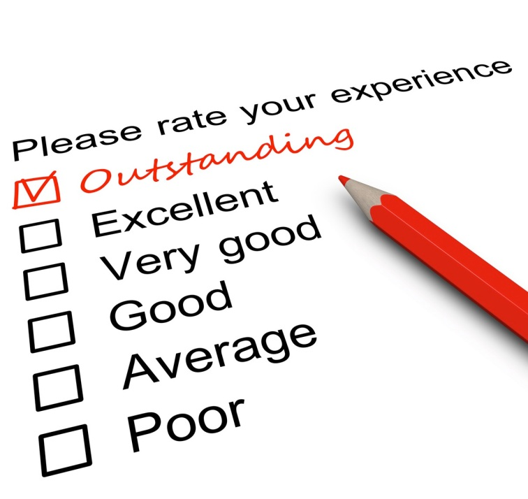 Survey form with a tick placed in Outstanding checkbox